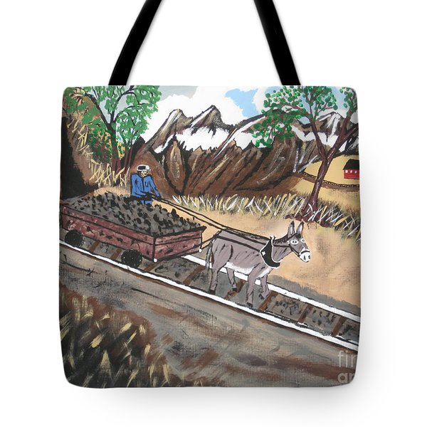 Tote Bag featuring the painting Out Of The Dark And Into The Blue Coal Mine by Jeffrey Koss