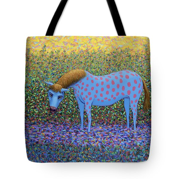 Tote Bag featuring the painting Out Of The Pasture by James W Johnson