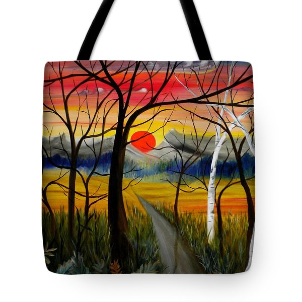Tote Bag featuring the painting Out Of The Woods by Renate Nadi Wesley