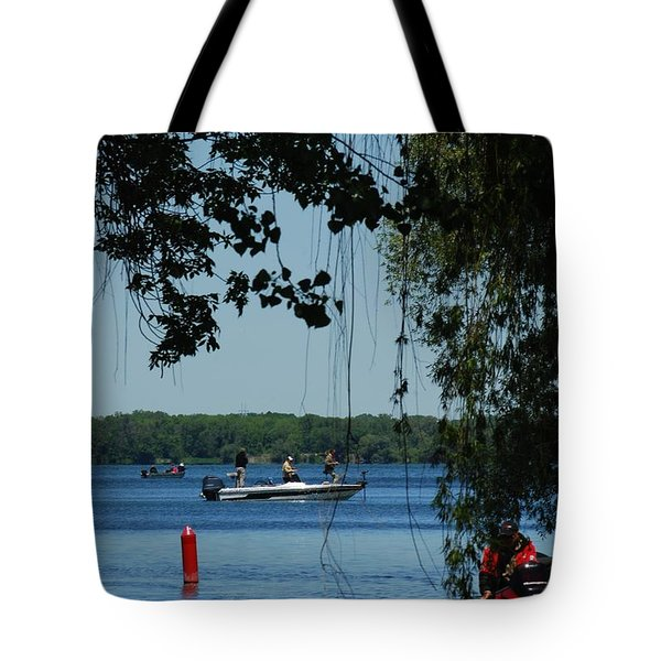Tote Bag featuring the photograph Out On The Lake by Ramona Whiteaker
