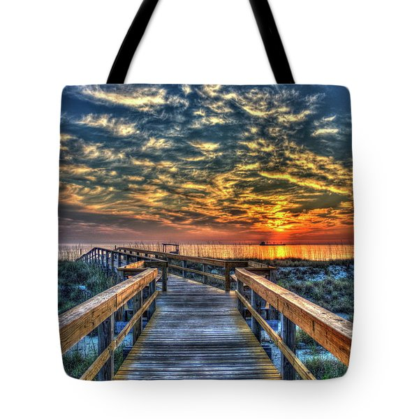 Tote Bag featuring the photograph Out To Sea Tybee Island Georgia Art by Reid Callaway