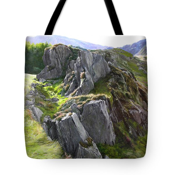 Outcrop In Snowdonia Tote Bag