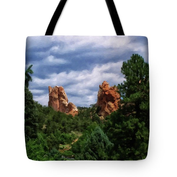 Tote Bag featuring the digital art outcroppings in Colorado Springs by Chris Flees
