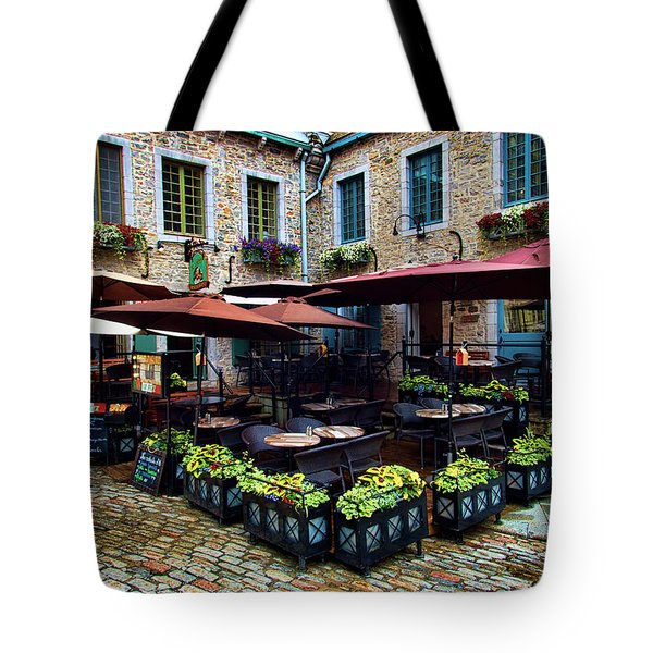 Outdoor French Cafe In Old Quebec City Tote Bag