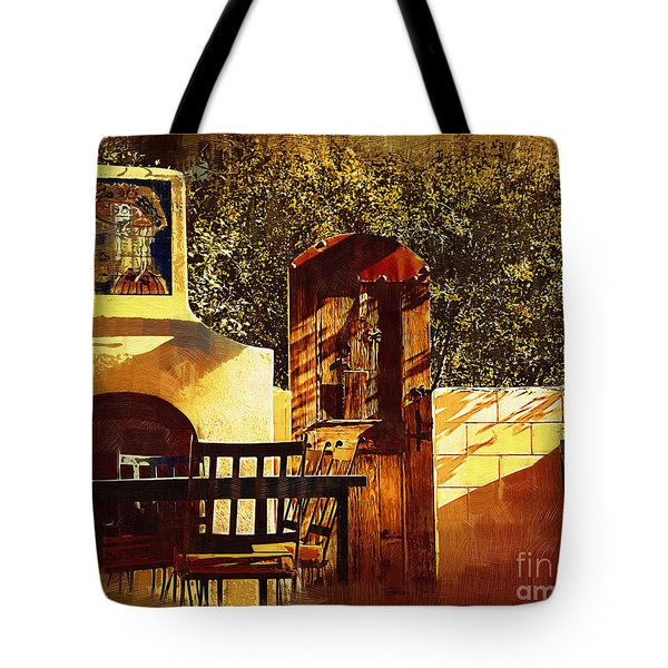 Tote Bag featuring the digital art Outdoor Kitchen by Kirt Tisdale