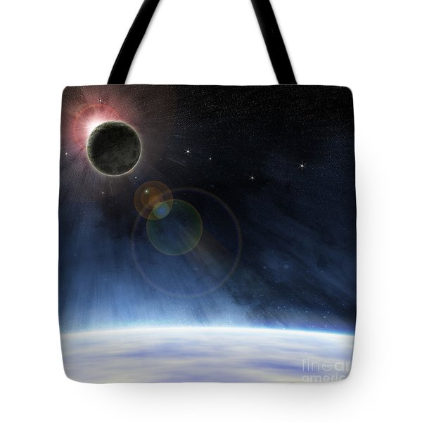 Tote Bag featuring the digital art Outer Atmosphere Of Planet Earth by Phil Perkins