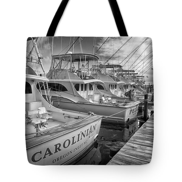 Outer Banks Fishing Boats Waiting Bw Tote Bag by Dan Carmichael