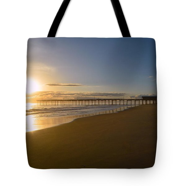 Tote Bag featuring the photograph Outer Banks Pier Sunrise by Barbara Ann Bell