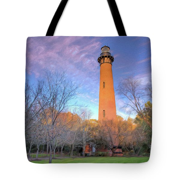 Outer Banks Winter At The Currituck Lighthouse Ap Tote Bag