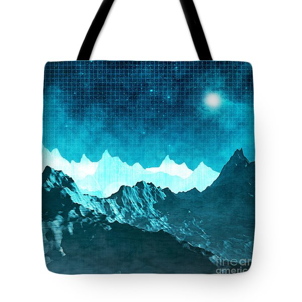 Tote Bag featuring the digital art Outer Space Mountains by Phil Perkins