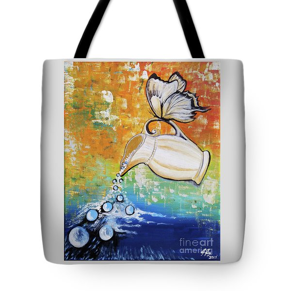 Tote Bag featuring the painting Outpouring by Jennifer Page
