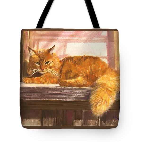 Outside Orange Tabby Tote Bag by Mary Jo Zorad