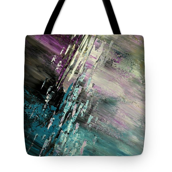 Tote Bag featuring the painting Over Cosmic Clouds by Tatiana Iliina
