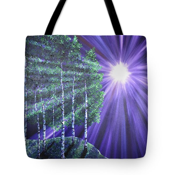 Tote Bag featuring the painting Over The Hill by Melinda Cummings