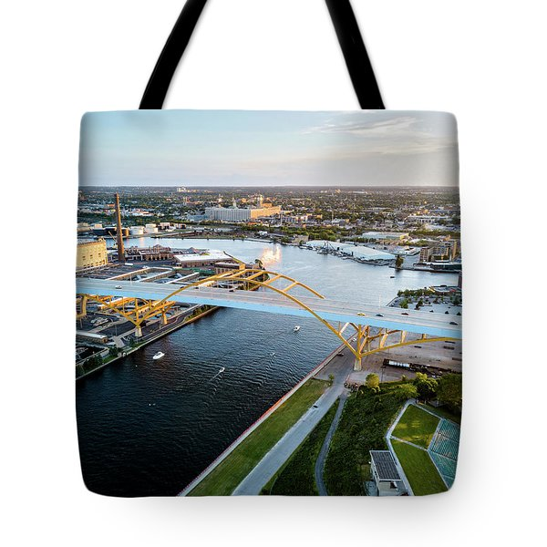 Tote Bag featuring the photograph Over The Hoan by Randy Scherkenbach