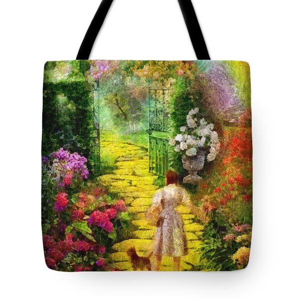 Tote Bag featuring the painting Over The Rainbow by Mo T