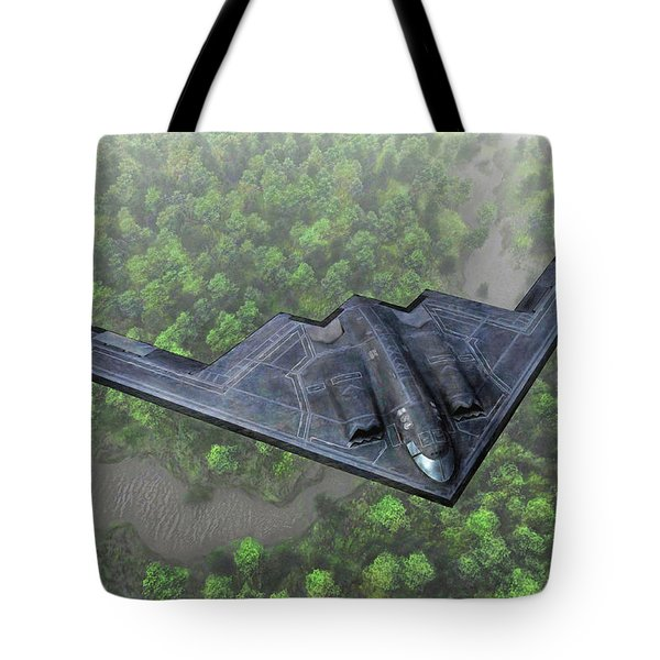 Over The River And Through The Woods In A Stealth Bomber Tote Bag by Dave Luebbert