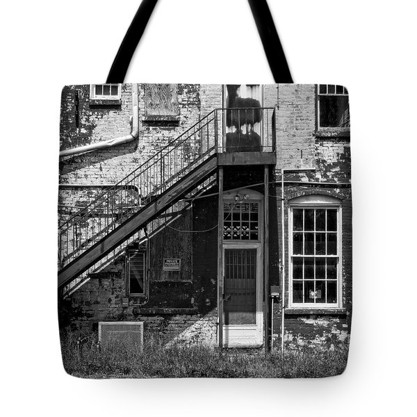 Tote Bag featuring the photograph Over Under The Stairs - Bw by Christopher Holmes