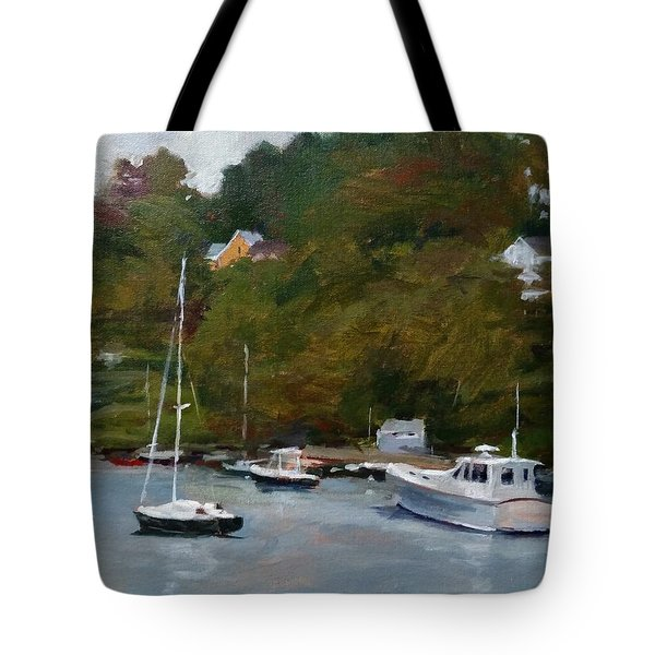 Overcast Day At Rockport Harbor Tote Bag