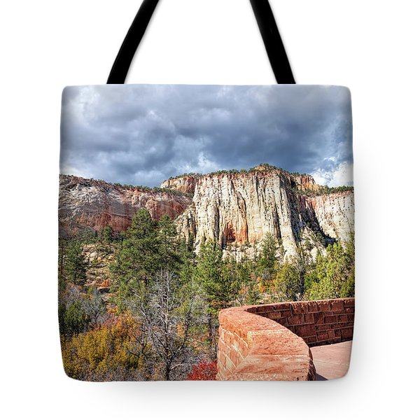 Tote Bag featuring the photograph Overlook In Zion National Park Upper Plateau by John M Bailey