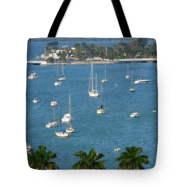 Overlooking A Miami Marina Tote Bag by Margaret Bobb