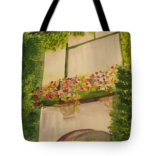 Tote Bag featuring the painting Overlooking Butchard Gardens  by Vicki  Housel