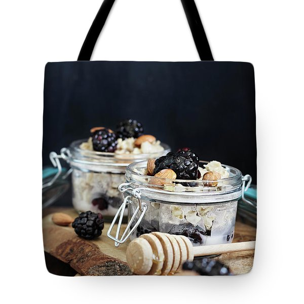 Overnight Oatmeal With Blackberries And Honey Tote Bag