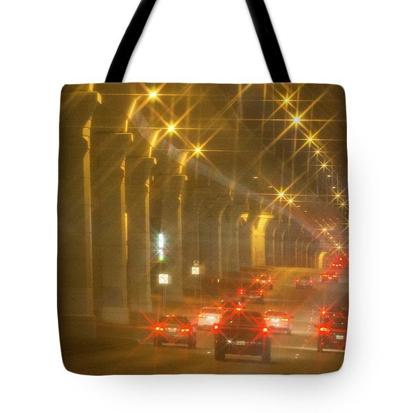 Tote Bag featuring the photograph Overpass Traffic by Linda Phelps