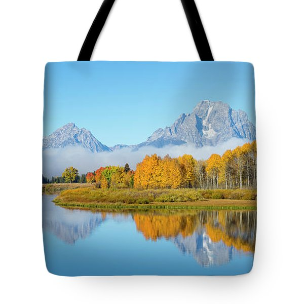 Oxbow Bend Pano In Autumn Tote Bag