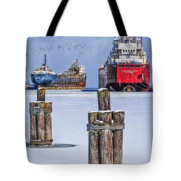 Owen Sound Winter Harbour Study #4 Tote Bag by Irwin Seidman