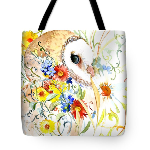 Owl And Flowers Tote Bag