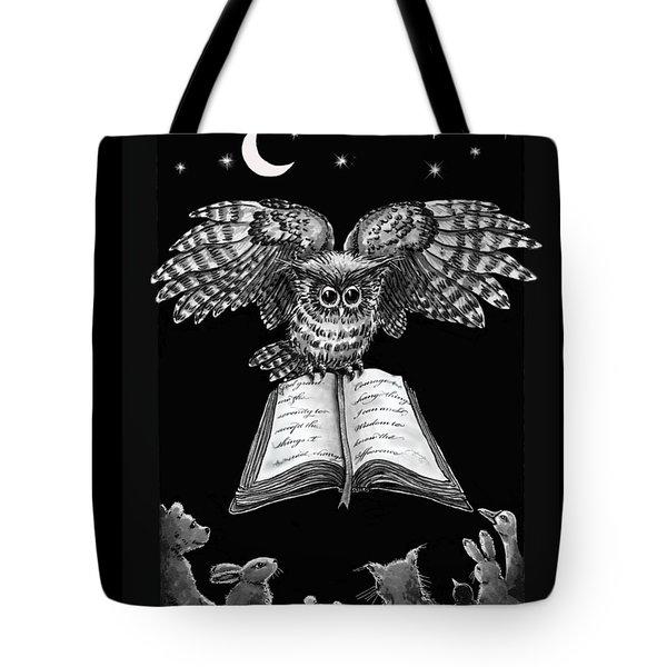 Owl And Friends Blackwhite Tote Bag