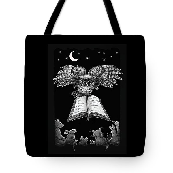 Owl And Friends Blackwhite Tote Bag
