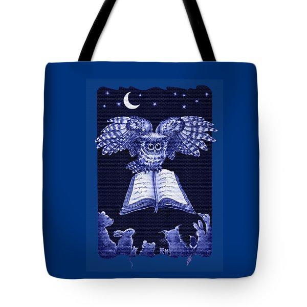 Owl And Friends Indigo Blue Tote Bag