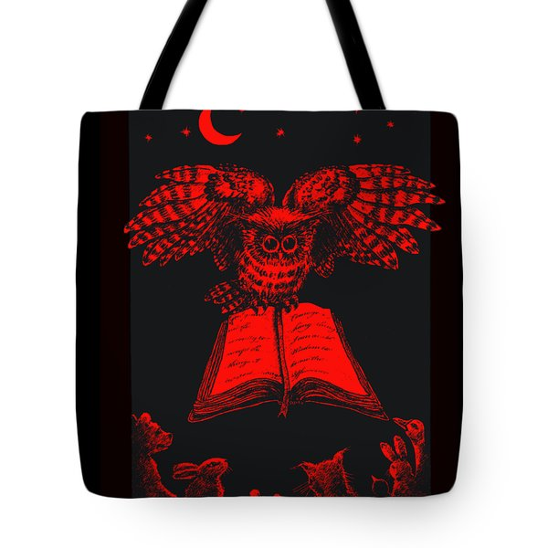 Owl And Friends Redblack Tote Bag