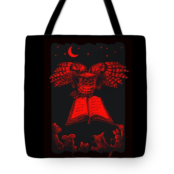 Owl And Friends Redblack Tote Bag