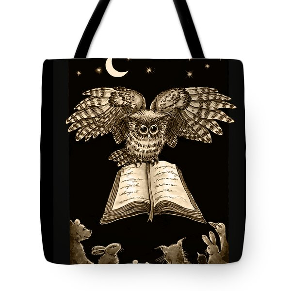 Owl And Friends Sepia Tote Bag