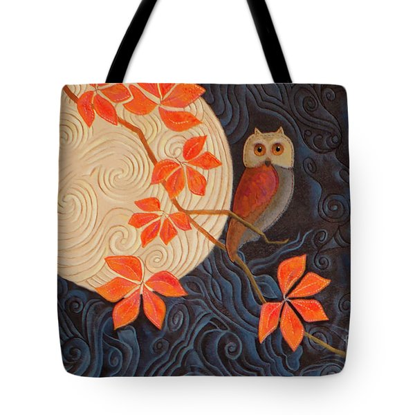 Tote Bag featuring the painting Owl And Moon On A Quilt by Nancy Lee Moran