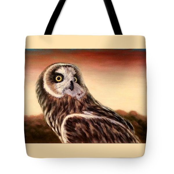 Owl At Sunset Tote Bag