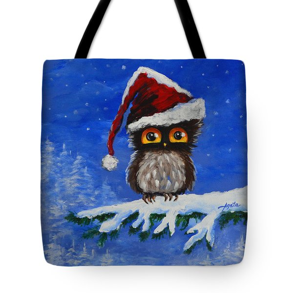 Owl Be Home For Christmas Tote Bag by Agata Lindquist