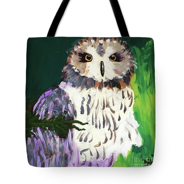 Tote Bag featuring the painting Owl Behind A Tree by Donald J Ryker III