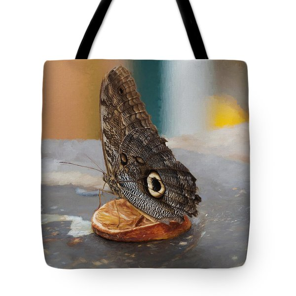 Tote Bag featuring the photograph Owl Butterfly-1 by Paul Gulliver