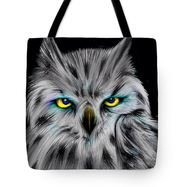 Tote Bag featuring the drawing Owl Eyes  by Nick Gustafson