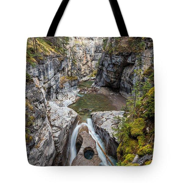 Owl Face Falls Of Maligne Canyon Tote Bag