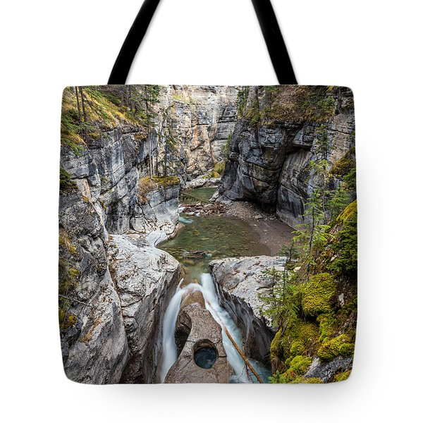 Tote Bag featuring the photograph Owl Face Falls Of Maligne Canyon by Pierre Leclerc Photography