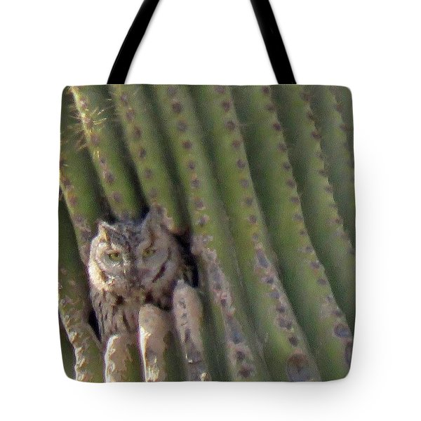 Owl In Cactus Burrow Tote Bag