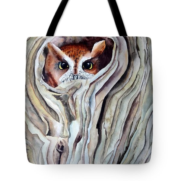 Tote Bag featuring the painting Owl by Laurel Best