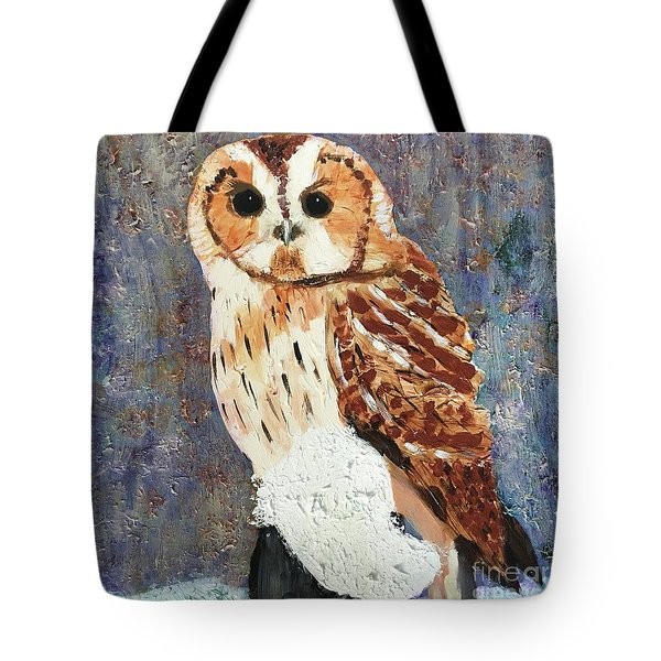 Owl On Snow Tote Bag by Donald J Ryker III