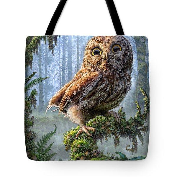 Owl Perch Tote Bag