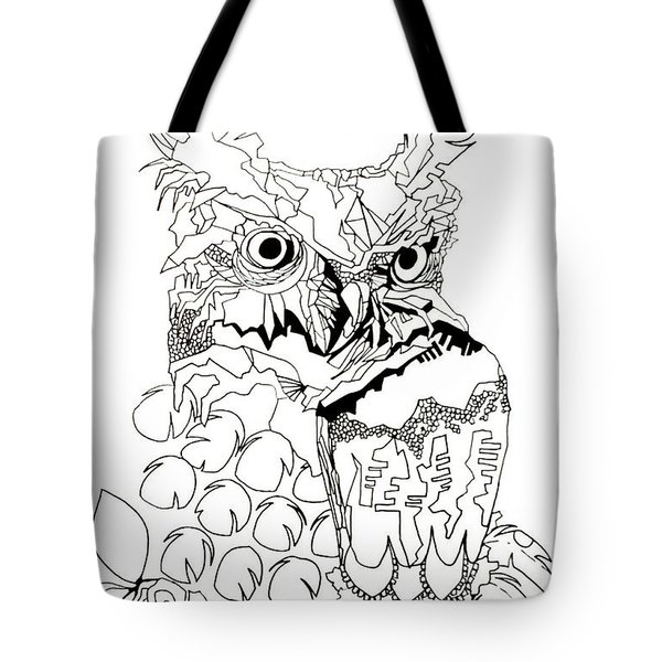 Tote Bag featuring the painting Owl Sketch 3 by Amy Sorrell